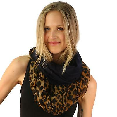 Leopard Animal Print Mix Wide Loop Circle Eternity Infinity Scarf Chain Navy