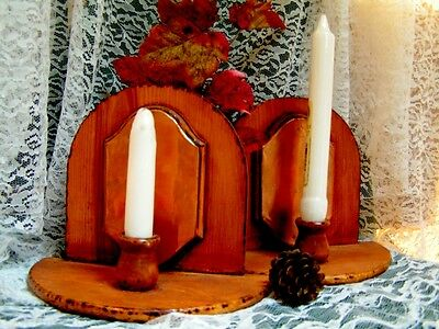 Handmade Rustic Wood and Copper Reflective Candle Sconces