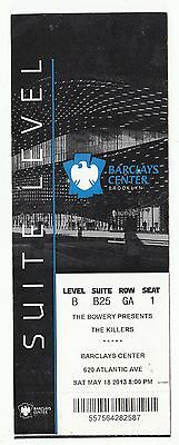 2013 The Killers Suite Level Full Ticket Stub Barclays Center 5/18/13 Brooklyn