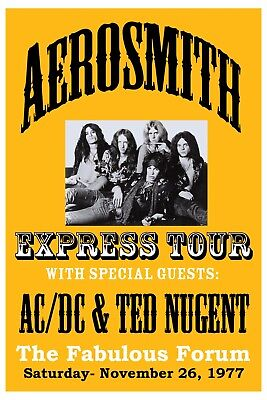 Aerosmith at the Los Angeles Forum Concert Poster 1977