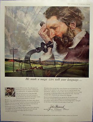 1959 John Hancock Insurance Alexander Graham Bell Telephone Magic Wire Talk ad