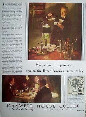 1929 Maxwell House Coffee Southern Gentleman Nashville Tennessee Home Genius ad