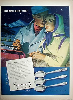 1947 Community Silverplate Couple Night Sleigh Ride For Keeps Whitcomb ad