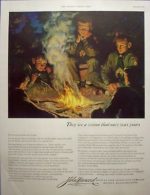 1952 John Hancock Insurance Boy Scouts Campfire Vision That Once Was Yours ad