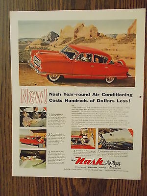 1954 Nash Ambassador Custom 4-Door Sedan Vintage Magazine Ad