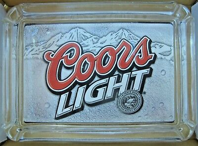 COORS LIGHT Beer Card & Glass Ashtray Key Ring Coin Candle Tray  Paperweight NIB