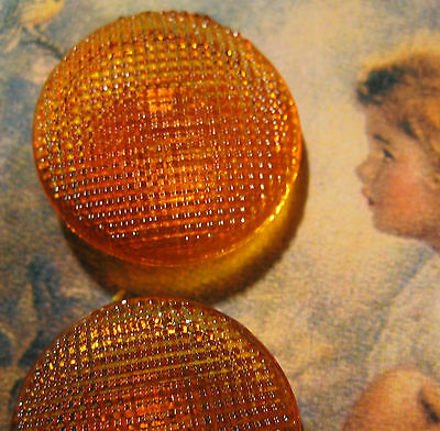 "Set of 3~Vintage Large 7/8"" Orange  Waffle Glass Buttons ~1920's new/old stock"
