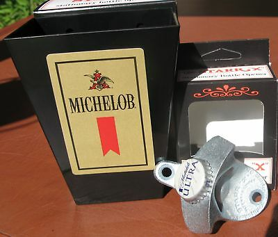Michelob Ultra Custom Beer Bottle Opener & Card / Cap Catcher  * Bar * Pub  NIB