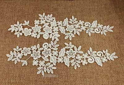 1 Pair Off White Fabric Venise Venice Lace Mirror Flower Motif Sewing Applique