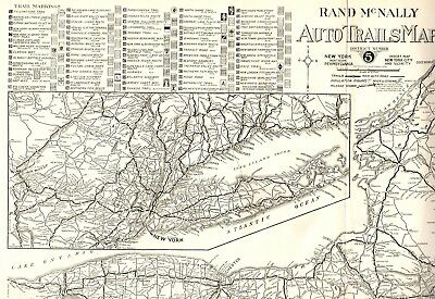 1924 RARE Antique AUTO TRAILS Map NEW YORK Road Map RARE Poster Print Size