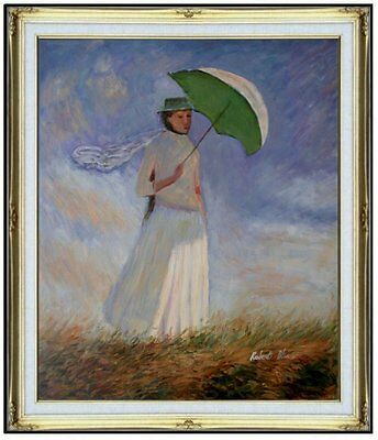 Framed, Claude Monet Woman with Sunshade Repro Hand Painted Oil Painting 20x24in