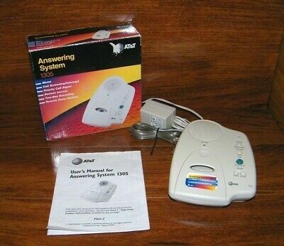 AT&T 1305 Micro-Cassette Answering Machine With Phone Line & AC Power Adapter