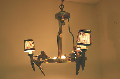 Antique Art Deco Bronze Hanging Ceiling  Chandelier, Form. Tennessee Williams