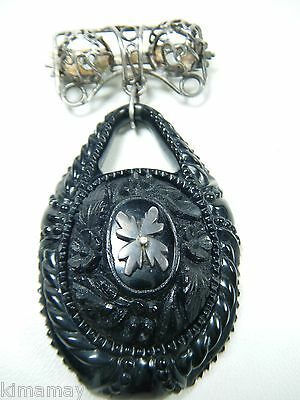 Large Antique Whitby Jet Ornately Carved Floral Silver Filigree Mourning Pin