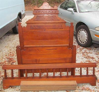 ~Antiique Victorian Eastlake Carved High Back Junior Sz Bed~