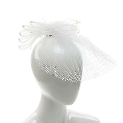 Feathers Beads Fishnet Hat Fascinator Brooch Clip Head Piece Cocktail White