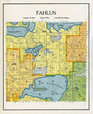 Fahlun Township Kandiyohi County Minnesota Rare 1905 Antique Color Map Genealogy