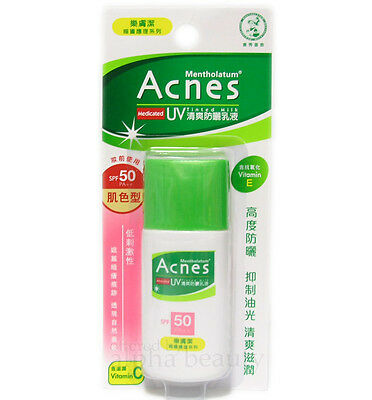 Mentholatum Acnes Medicated Sunscreen UV Tinted Milk 30g/1oz SPF50PA++ [Natural]