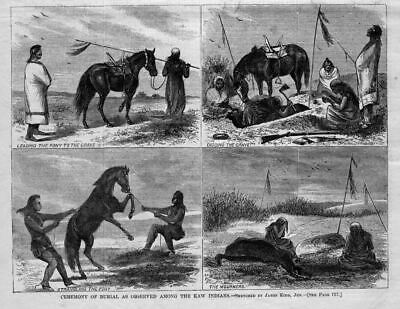 Kaw Indians Ceremony Of Burial Digging Grave Leading Pony To Grave Strangling