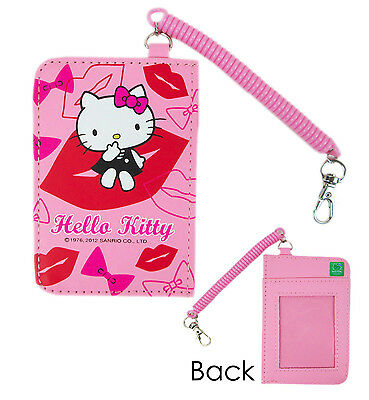 Sanrio HELLO KITTY ID Credit CARD Ticket HOLDER Name Tag w/ Elastic Band x1 Kiss