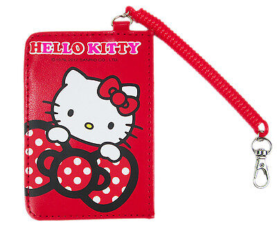 Sanrio HELLO KITTY ID Credit CARD Ticket HOLDER Name Tag w/ stretchy Band x1 Red