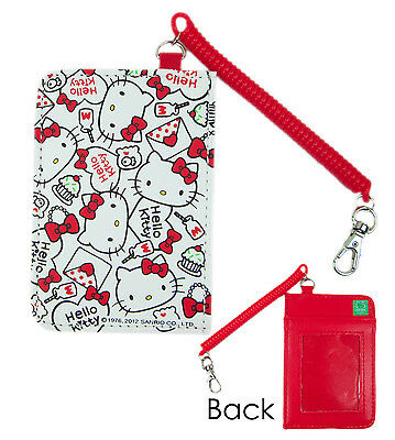 Sanrio HELLO KITTY ID Credit CARD Ticket HOLDER Name Tag w/ stretchy Band x 1 wt