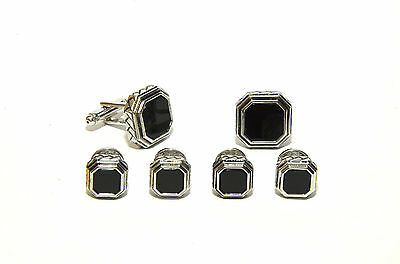 Antique Etched Octagon Black Onyx Tuxedo Studs and Cufflinks Set