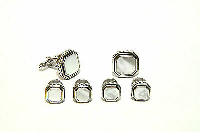 Antique Etched Octagon Mother of Pearl Tuxedo Studs and Cufflinks Set