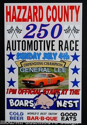 Hazzard County 250  Race Poster Dukes Of Hazzard General Lee 69 Charger 11 X 17