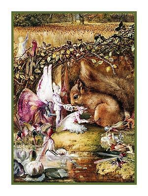 John Anster Fitzgerald Fairy The Wounded Squirrel Counted Cross Stitch Chart