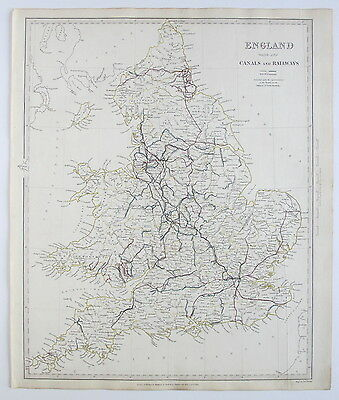 Sduk Map England Canals & Railways 1837 Published 1844