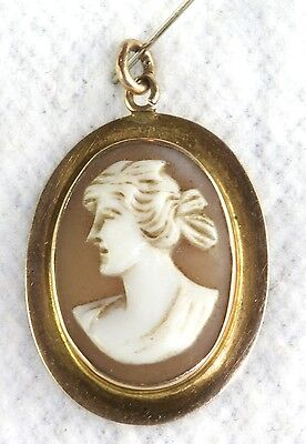 Vtg 1880'S 14K Gold Hand Carved Shell Cameo Pendant For A Necklace