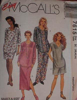 7615 Vintage McCalls SEWING Pattern Womens Tunic Pants Skirt Plus Size OOP FF