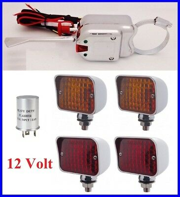 12 volt steering column turn signal switch flasher w/ amber red lights ford