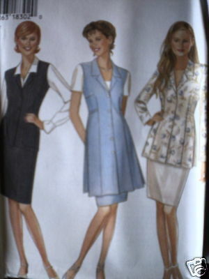 6431 Vintage NEW LOOK SEWING Pattern 8-18 Misses Skirt Vest Top UNCUT FF OOP SEW