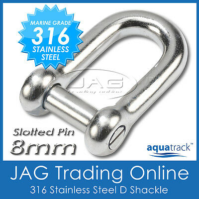 8mm 316 STAINLESS STEEL SLOTTED PIN DEE D-SHACKLE M8 Marine/Boat/Shade/Sail/Slot