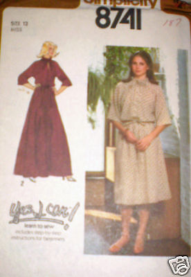 Vintage Simplicity Sewing Pattern 1970's Pullover Dress UNCUT 8741