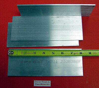 "4 Pieces 1/8"" X 3"" ALUMINUM 6061 T6511 FLAT BAR 8"" long .125"" Cut New Mill Stock"
