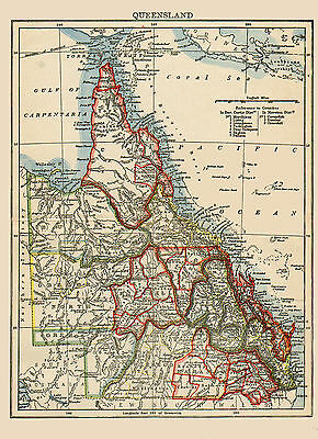 1890 Color Map of QUEENSLAND, AUSTRALIA