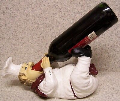 Wine Bottle Holder and/or Decorative Sculpture Country Chef Chardonnay  NEW