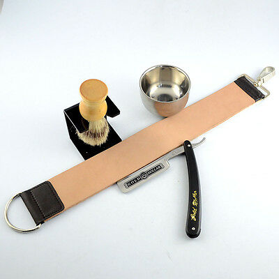 Gold Dollar 66 Straight Razor + Brush + Brush Stand + Bowl + Leather Strop Strap