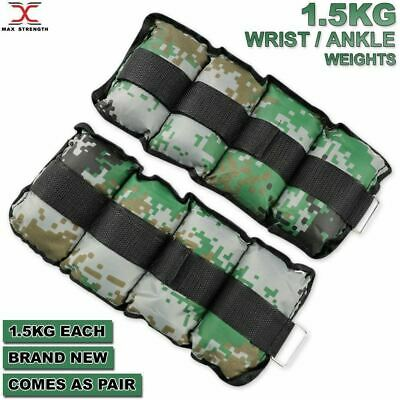 WRIST ANKLE WEIGHTS EXERCISE FITNESS GYM STRENGTH TRAINING RUNNING 1.5kg PAIR
