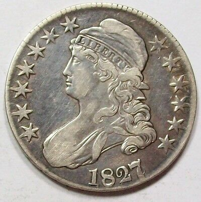 1827 over 6 Variety CAPPED BUST HALF DOLLAR~Nice XF+ OVERTON 102 ~Free U.S. Ship