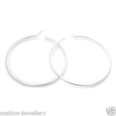 54mm Sterling silver hoop earrings .925 x 1 pair hoops HASER0099