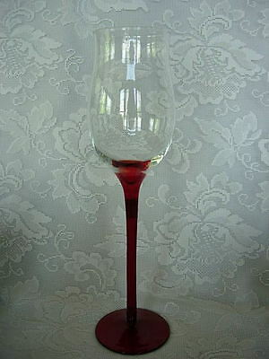 Beautiful Very Tall Ruby Red/Crystal Blown Glass Chalice Goblet
