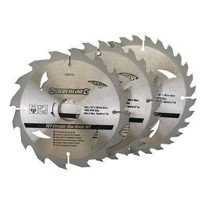 "3 Circular Saw Blades 160mm Dia (6 1/4"") 30mm Bore 20  16 & 10 mm Reduction Ring"