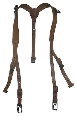 Genuine Czech Army LEATHER Y-STRAPS for M60 Pack - Surplus Military Suspenders