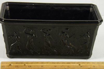 Antique L.E Smith Black Amethyst Glass Neoclassical Dancing Nude Maidens Planter