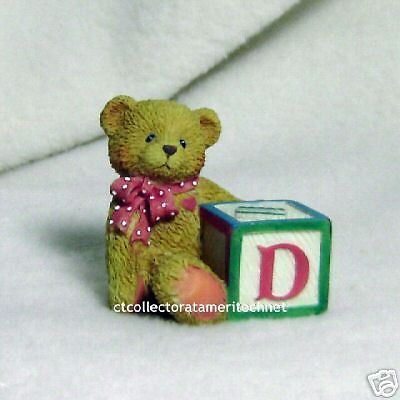 Cherished Teddies Bear With ABC D Alpha Letter Block 1995