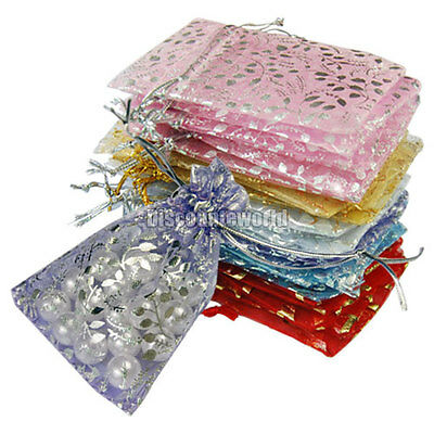 100x Candy Drawstring Organza Jewelry Wedding Gift Pouch Bags 7X9cm